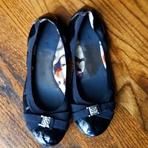 Coach black patent leather flats